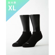 單色運動逆氣流氣墊船短襪-黑色-XL加大款
