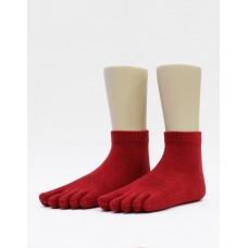 文青最愛五趾短襪-紅色
