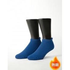 低調原色防磨船短襪-藍色