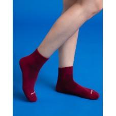 素色美學氣墊運動襪-紅色