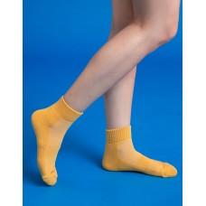 素色美學氣墊運動襪-黃色