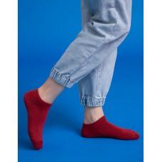 低調原色船短襪-紅色