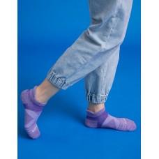 暖陽麻花輕壓力足弓船短襪-紫色