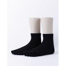 單色環狀五趾短襪-黑色