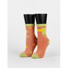 幾何拼接不對稱襪-橘色