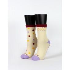 霓彩派對不對稱襪-米色