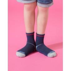 兒童簡約運動氣墊襪-藍色