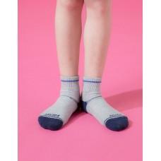 兒童簡約運動氣墊襪-灰色