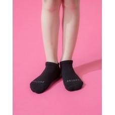 單色運動氣墊船短襪-黑色