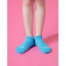 單色運動氣墊船短襪-淺藍