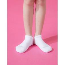 單色運動氣墊船短襪-白色