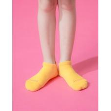 單色運動氣墊船短襪-黃色