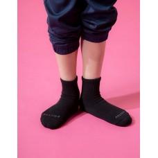單色運動氣墊襪-黑色