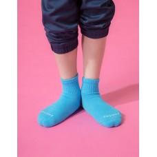 單色運動氣墊襪-淺藍