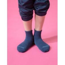 單色運動氣墊襪-深藍