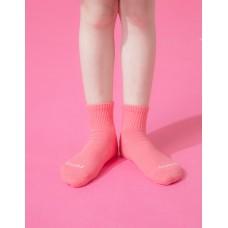 單色運動氣墊襪-桃紅