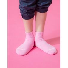 單色運動氣墊襪-粉紅