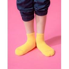 單色運動氣墊襪-黃色
