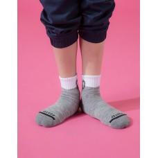 字母撞色花紗氣墊襪-灰色