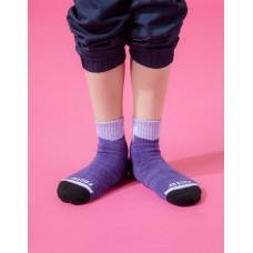 字母撞色花紗氣墊襪-紫色