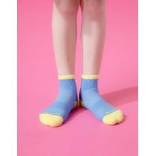 趣味拼色運動氣墊襪-藍色