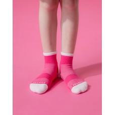 趣味拼色運動氣墊襪-桃紅