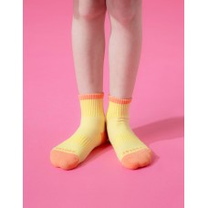 趣味拼色運動氣墊襪-黃色