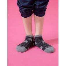 潮流星星船短襪-黑色