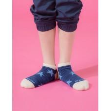 潮流星星船短襪-藍色