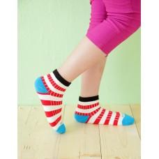 綜合條紋兒童襪-黑邊-M