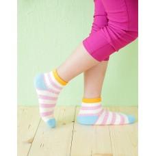 綜合條紋兒童襪-橘邊-M
