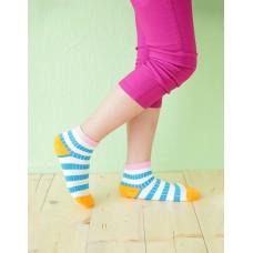 綜合條紋兒童襪-粉紅邊-M