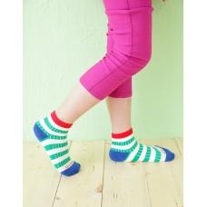 綜合條紋兒童襪-紅邊-M