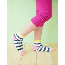 綜合條紋兒童襪-黃邊