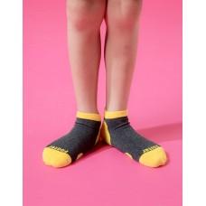 兒童運動船短襪-黃色