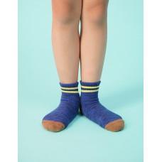 撞色雙橫線條氣墊襪-藍色