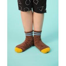 撞色雙橫線條氣墊襪-咖啡