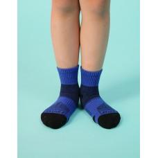輕壓力網狀運動氣墊襪-藍色