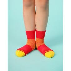 輕壓力網狀運動氣墊襪-紅色