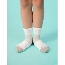 輕壓力網狀運動氣墊襪-白色