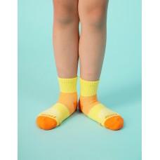 輕壓力網狀運動氣墊襪-黃色