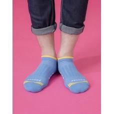 輕壓力三線運動除臭襪-藍色