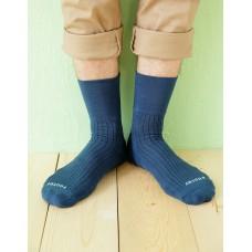 微分子氣墊紳士素面寬口襪-藍色