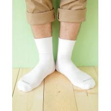 微分子氣墊紳士素面寬口襪-白色