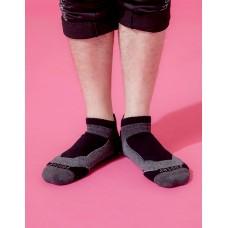 輕壓力T字網狀足弓船短襪-黑色