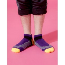 輕壓力T字網狀足弓船短襪-紫色