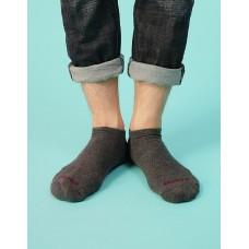 襪口V型氣墊運動船短襪-深灰