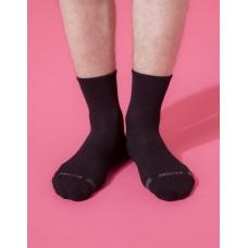 單色運動逆氣流氣墊襪-黑色