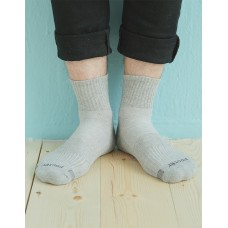 單色運動逆氣流氣墊襪-淺灰-XL加大款