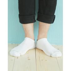 單色運動逆氣流氣墊船短襪-白色